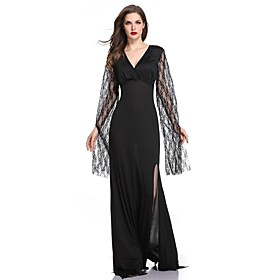 Women's A-Line Dress Maxi long Dress - Long Sleeve Solid Color Lace Split Fall V Neck Sexy Party Slim 2020 Black One-Size