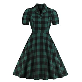 Women's Swing Dress Knee Length Dress - Short Sleeve Plaid Summer V Neck Elegant 2020 Green S M L XL XXL