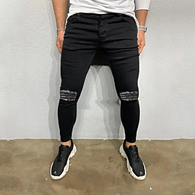 Men's Basic Daily Going out Slim Denim Jeans Pants Solid Colored Cut Out Black S M L