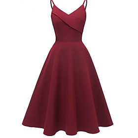 Women's A-Line Dress Knee Length Dress - Sleeveless Solid Color Patchwork Summer V Neck Sexy Slim 2020 Blushing Pink Wine Navy Blue S M L XL XXL