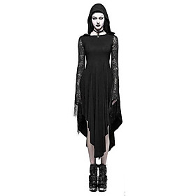 Women's A-Line Dress Midi Dress - Long Sleeve Solid Color Lace Backless Spring Fall Vintage Party Slim 2020 Black S M L XL XXL 3XL 4XL 5XL
