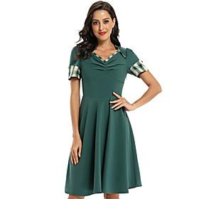 Women's A-Line Dress Knee Length Dress - Short Sleeve Solid Color Ruched Patchwork Summer V Neck Elegant Slim 2020 Green S M L XL XXL