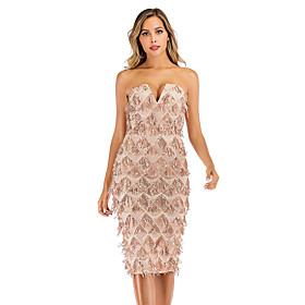 Women's A-Line Dress Short Mini Dress - Sleeveless Solid Color Backless Sequins Tassel Fringe Summer Strapless V Neck Sexy Party Club 2020 Gold S M L XL XXL