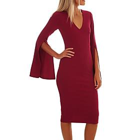 Women's A-Line Dress Midi Dress - Long Sleeve Solid Color Patchwork Zipper Winter V Neck Elegant Party Flare Cuff Sleeve Slim 2020 Black Red S M L XL