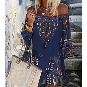 Women's A-Line Dress Knee Length Dress - Long Sleeve Print Print Summer Off Shoulder Casual Hot Boho vacation dresses Loose 2020 Blue Wine S M L XL XXL 3XL