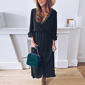Women's A-Line Dress Midi Dress - Long Sleeve Solid Color Patchwork Fall V Neck Sexy Loose 2020 Black S M L XL