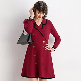 Women's A-Line Dress Short Mini Dress - 3/4 Length Sleeve Color Block Summer V Neck Casual Elegant 2020 Black Red Beige One-Size