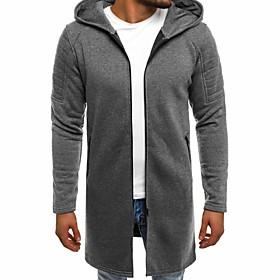 Men's Hooded Overcoat Long Solid Colored Daily Basic Long Sleeve Black Army Green Gray US34 / UK34 / EU42 US36 / UK36 / EU44 US38 / UK38 / EU46