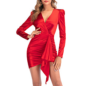 Women's A-Line Dress Short Mini Dress - Long Sleeve Solid Color Backless Sequins Bow Summer V Neck Sexy Party Going out Slim 2020 Red S M L XL