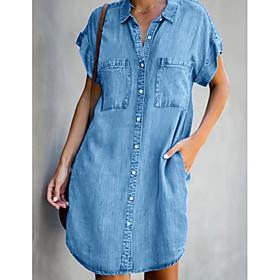 Women's Denim Shirt Dress Short Mini Dress - Short Sleeve Pocket Summer Shirt Collar Casual Hot Denim 2020 Light Blue S M L XL XXL
