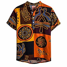 Men's Causal Shirt Graphic Short Sleeve Tops Round Neck Picture color / Summer / Fall