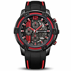 men's analogue sport quartz wrist watches with soft red/black silicone strap chronograph luminous auto calendar waterproof function (2097 red)