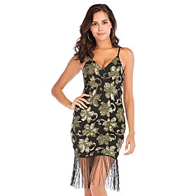 Women's A-Line Dress Short Mini Dress - Sleeveless Solid Color Embroidered Tassel Fringe Summer V Neck Sexy Party Going out Slim 2020 Black S M L XL XXL