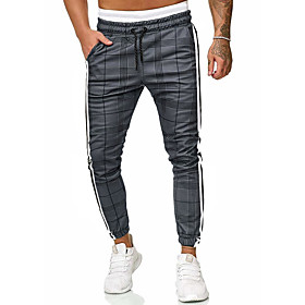 Men's Basic Daily Going out Sweatpants Pants Plaid Checkered Drawstring Black S M L