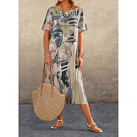 Women's A-Line Dress Midi Dress - Short Sleeve Print Print Summer Elegant Holiday Loose 2020 Blue Red Orange Green Gray S M L XL XXL 3XL 4XL 5XL