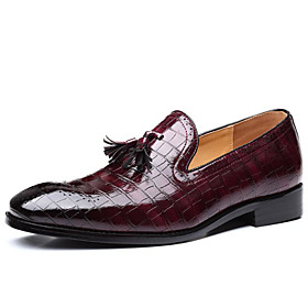 Men's Loafers  Slip-Ons Business Daily PU Wear Proof Dark Red / Black / Yellow Fall
