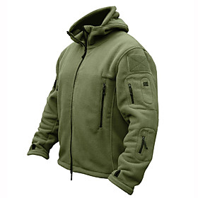Men's Hoodie Jacket Hiking Jacket Hiking Fleece Jacket Winter Warm Military Tactical Outdoor Solid Color Thermal Warm Windproof Fleece Lining Breathable Winter