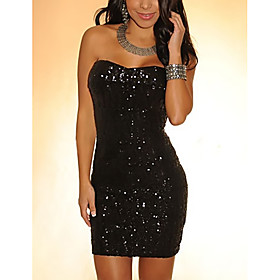 Women's A-Line Dress Short Mini Dress - Sleeveless Solid Color Backless Sequins Embroidered Summer Strapless Sexy Party Club 2020 Black S M L XL