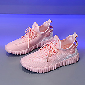 Women's Trainers / Athletic Shoes Flat Heel Round Toe Casual Athletic Knit Walking Shoes White / Black / Pink