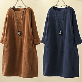Women's A-Line Dress Short Mini Dress - 3/4 Length Sleeve Solid Color Fall Winter Casual Slim 2020 Light Brown Navy Blue M L XL XXL 3XL 4XL 5XL