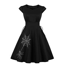 Halloween Women's A-Line Dress Knee Length Dress - Sleeveless Bat Spider Solid Color Animal Zipper Summer Vintage Cotton 2020 White Black Green S M L XL XXL