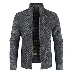 Men's Color Block Cardigan Long Sleeve Sweater Cardigans Shirt Collar Spring Fall Light gray Dark Gray Brown