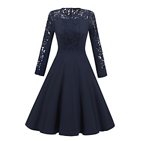 Women's A-Line Dress Knee Length Dress - Long Sleeve Solid Color Lace Patchwork Fall Sexy Party Slim 2020 Black Navy Blue S M L XL XXL