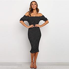 Women's A-Line Dress Knee Length Dress - Short Sleeve Polka Dot Backless Print Summer Strapless Elegant Party Club Slim 2020 White Black S M L XL XXL