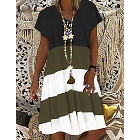 Women's A-Line Dress Knee Length Dress - Short Sleeve Color Block Summer V Neck Casual 2020 Black S M L XL XXL 3XL 4XL 5XL