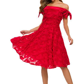 Women's A-Line Dress Knee Length Dress - Sleeveless Solid Color Tassel Fringe Spring Summer Off Shoulder Elegant Party 2020 White Blushing Pink Wine S M L XL X