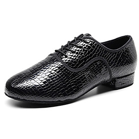 Men's Dance Shoes Latin Shoes / Dance Sneakers / Modern Shoes Oxford Thick Heel Customizable Black / Performance / Leather / Practice