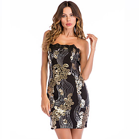 Women's A-Line Dress Short Mini Dress - Sleeveless Solid Color Backless Sequins Embroidered Summer Strapless Sexy Party Club 2020 Black S M L XL XXL