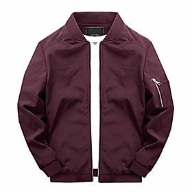 men's casual lightweight jacket varsity coat softshell flight bomber jacket wine red