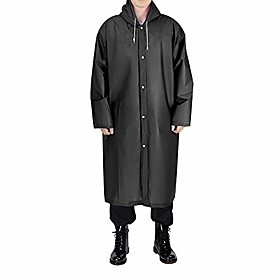 adult portable rain poncho, black eva reusable raincoat with hoods sleeves, unisex waterproof rainwear