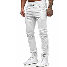 Men's Basic Daily Chinos Pants Solid Colored Outdoor White Black Red M L XL