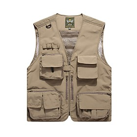 Men's Vest Regular Solid Colored Daily Basic Red Army Green Khaki M L XL