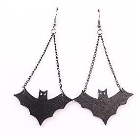 Women's Hoop Earrings Retro Bat Punk Earrings Jewelry Black For Halloween Festival 2pcs