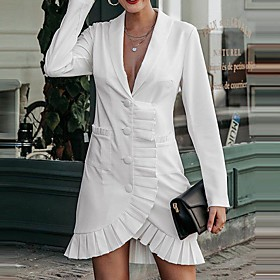 Women's A-Line Dress Short Mini Dress - Long Sleeve Solid Color Ruffle Print Summer V Neck Casual Slim 2020 White S M L