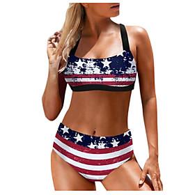 Women's Sexy Two Piece Striped Plus Size Bikini Swimsuit Backless Print Geometric Spaghetti Strap Swimwear Bathing Suits Red / Padded Bras