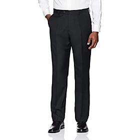 buttoned down men's tailored fit super 110 italian wool suit dress pant, black, 32w x 30l