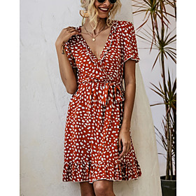 Women's A-Line Dress Knee Length Dress - Short Sleeve Print Ruffle Print Summer V Neck Casual 2020 White Red Beige S M L XL