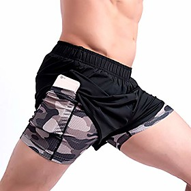 men's 2 in 1 running shorts gym workout quick dry mens shorts with pocket(black camouflage net s(xl))