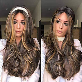 Synthetic Wig Body Wave Middle Part Wig Long Very Long Light golden Synthetic Hair 65 inch Women's Party Highlighted / Balayage Hair Middle Part Blonde Brown