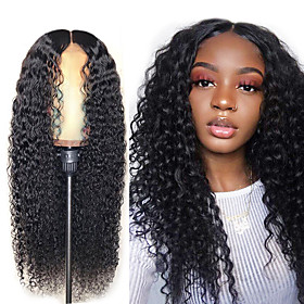 Synthetic Wig Afro Curly Middle Part Wig Long Very Long Black Synthetic Hair 65 inch Women's Party Middle Part Fluffy Black