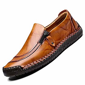 men's casual leather shoes fashion loafer breathable flat dress walking boat shoes comfortable men slip on moccasins driving shoes lightweight yellow