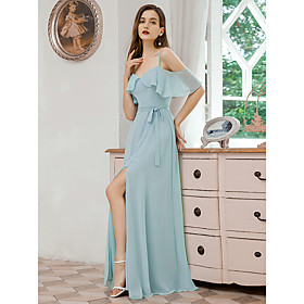 Women's A-Line Dress Maxi long Dress - Short Sleeve Solid Color Ruffle Spring Summer V Neck Formal Elegant Party Beach Chiffon Loose 2020 Light Blue S M L XL