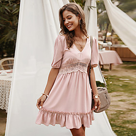 Women's A-Line Dress Knee Length Dress - Half Sleeve Solid Color Lace Ruffle Summer V Neck Elegant 2020 Blue Yellow Blushing Pink S M L XL