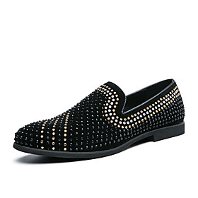 Men's Loafers  Slip-Ons Business / Classic / Casual Daily Office  Career PU Breathable Non-slipping Wear Proof Black Spring / Fall / Sequin / British