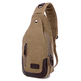 Men's Bags Canvas Sling Shoulder Bag Zipper for Daily / Going out Black / Blue / Army Green / Khaki