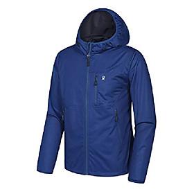 men's lightweight windbreaker, softshell jacket with hood for running travel hiking dark blue size m